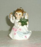 Vintage LEFTON February Angel Figurine Flowers Sash
