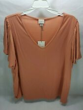 """Target """"A New Day"""" Women's Coral Short Sleeve V-neck Top Size XXL NWT"""