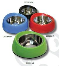 Pet One P1-20306M-LG Bowl Round Feed Retainer 350ml Melamine/SSteel Lime Green