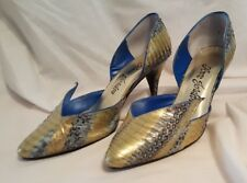 Anne Jordan 7B High Heel Shoes Blue Gold Snake Cavort 30002 Pointed Toe D'Orsay