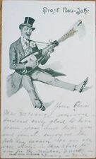 1900 New Year Private Mailing Card, Man w/Champagne - US Card w/German Language