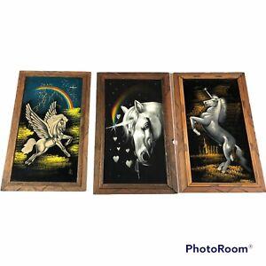 Unicorn Pegasus Black Velvet Oil Paintings Lot of 3 Vintage Rainbow Mystical