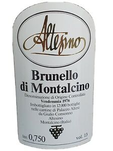 1976er Brunello di Montalcino, Altessino,  Rarität, nur 12.000 Flaschen1976er