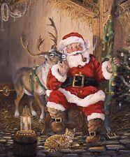 Christmas Memories-Time Panel-Riley Blake-1 Yard Panel-Cat-Barn-Reindeer