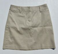 Ann Taylor Loft Khaki Beige Flat Front Mini Pencil Skirt Women's Size 8