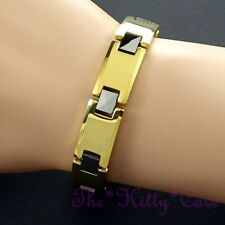 Tungsten Magnetic Injury RSI Pain Relief Unisex 2-Tone 24K Gold Silver Bracelet