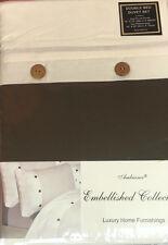 Letto Matrimoniale Copripiumino Set 200 TC Waffle Crema Cioccolato pulsante in legno effetto
