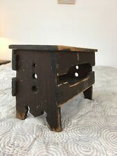 AAFA Primitive Antique Vermont Shoe Shine Stool with Original Brown Paint