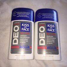 2 Lot Kiss My Face Natural Man Deo Deodorant Aqua Scent Aluminum Free Mens