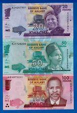 Malawi P-63 P-64 P-65 20,50,100 Kwacha Uncirculated Banknotes Set #3