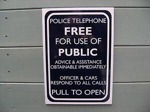 rigid a4 Dr. Who Tardis type telephone box sign reversed cut