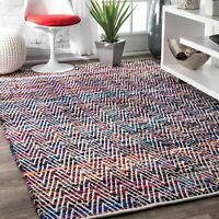 nuLOOM Hand Made Contemporary Striped Cotton Blend Area Rug in Pink, Red, Blue
