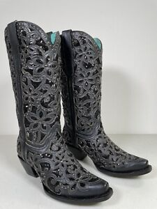 Women's Corral Boots Black Overlay Studs Studded Embroidery Handmade 8 A3752