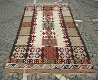 Vintage Flatweave Antalya Barak Area Rug 5x8 Turkish Wool Shabby Rectangle Kilim