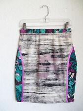 PENELOPE RED Brush Stroke & Stainglass Print Straight Mini PENCIL Panel Skirt M
