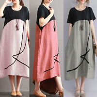 UK 10-24 Women Oversized Short Sleeve Round Neck Loose Long Dress Baggy Kaftan