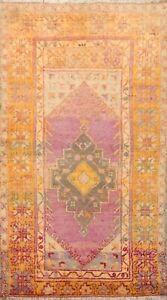 Vintage Anatolian Turkish Geometric Area Rug Wool Handmade Oriental Carpet 3x6
