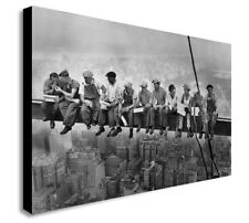 LUNCH ATOP SKYSCRAPER  Canvas Wall Art Framed Print. Various Sizes