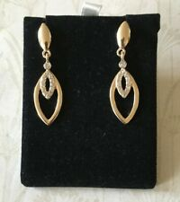 Vintage Design Gold Plated and Crystal Oval Drop Earrings