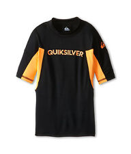 Quiksilver Boys L Performer Black Orange Short Sleeve Rash Guard Swim Shirt NWT