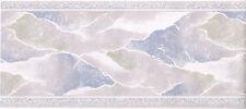 Beige Purplish Marble Vein Crack Water Abstract Sheen Textured Wallpaper Border