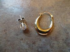 And 925 Sterling Silver Cz Earring 10Kt Yellow Gold Oval Hoop Earring