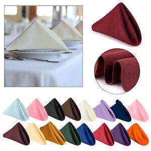 "20"" x 20"" Plain Polyester NAPKINS Wedding Table Cloth Linen Dinner Soft Fabric"