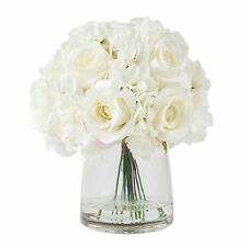 Floral Centerpiece in Glass Vase Hydrangea and Rose Flowers 11 x 10 Inches