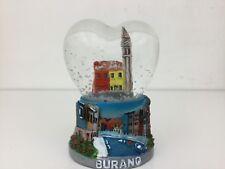Burano Italy Mini Heart Shaped Snow Globe Dome