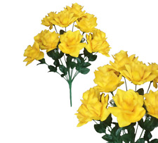 "Microfiber 12-Yellow Rose 20"" Bush Silk Flower Home Wedding Bridal Office Decor"