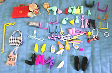 Vintage Lot Barbie & other Doll Accessories Shoes Jewelry Framed Photo Purses ++