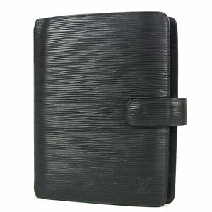 Auth LOUIS VUITTON NO STICKY Epi Agenda MM Daily Planner Cover Black 15358bkac