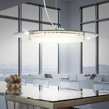 17W LED Esszimmer Esstisch Hänge Decken Leuchte Lampe Licht Chrom Glas Kristalle