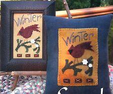 SamSarah WINTER CARDINAL Cross Stitch & Wool Applique Charts/Leaflet Only bird