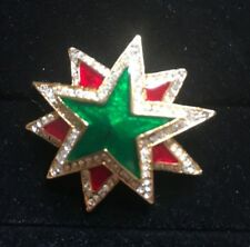 Red Green Christmas Holiday Sparkle Star Lapel Pin Brooch