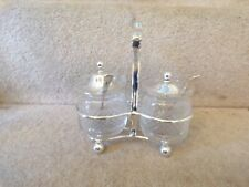 LOVELY ANTIQUE SILVER PLATED & GLASS PRESERVE DISHES