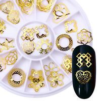 3D Nail Decoration in Wheel Heart Star Round Nails Studs Gold Alloy Rivets Tips