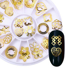 3D Nail Art Decoration Heart Star Round Nails Studs Gold Alloy Rivets Manicure