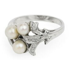 VINTAGE DIAMOND & PEARL 14K WHITE GOLD FLORAL DESIGN COCKTAIL RING