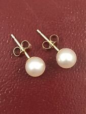 Classic Genuine Cultured 5-5.5mm Round Pearl Stud Earrings, Solid 14kt Gold, New