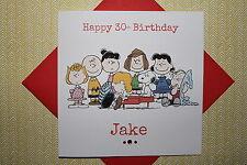 Fatto a mano personalizzato Retrò PEANUTS SNOOPY cartolina di Compleanno 3 4 5 6 7 30 40 qualsiasi età