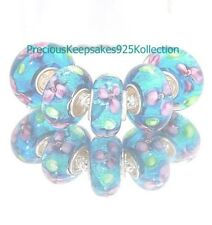 "*FIVE~Murano Glass Beads ""Blue Crackle Multi"" Sterling Silver non thread core"