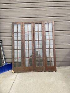 AN634 Set Antique Oak Beveled Glass Bifold Doors 71 3/8 X 84.25 X1.75