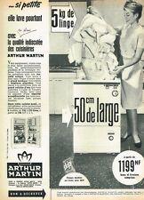 E- Publicité Advertising 1962 La Machine à laver Arthur Martin