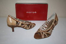 Maripe Debra Womens Size 6.5 M Tan Leather Open Toe Heels Shoes NEW