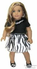 Zebra Print & Black Velvet Dress Doll Clothes Made For 18 Inch American Girl