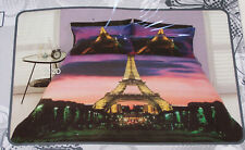 Paris At Night France Eiffel Tower Printed Double Bed Quilt Cover Set New
