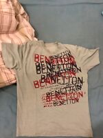 Crushed Vintage United Colors Of Benetton T Shirt With Printed Logos Size: M