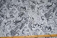 Hosenstoff Kleiderstoff Stretch weiß Paisley Blumen schwarz #03144