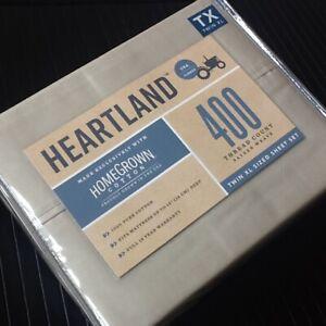 STONE-colored 3pc Heartland 400TC 100% HomeGrown Cotton Sateen Twin XL Sheet Set